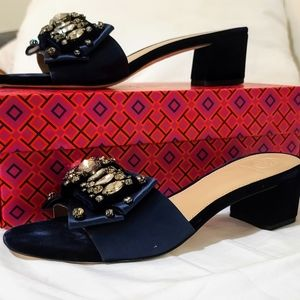 Tory burch Valentina Bow Slide Satin Navy 8.5